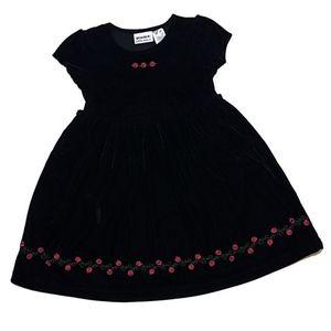 Blueberi Boulevard Black Velour Girls Dress Roses